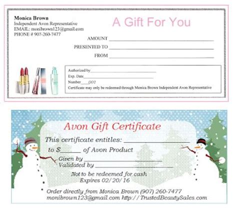 avon gift certificates templates free 1000 images about avon on jamberry avon