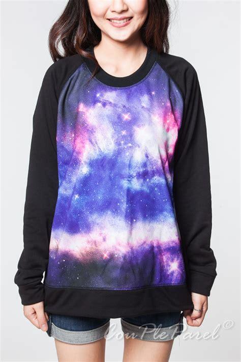 Dress Reshiko Knit galaxy sweatshirt pink violet nebula by coupleparel