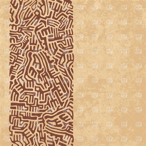 ethnic background abstract ethnic ornament labyrinth line on worn brown