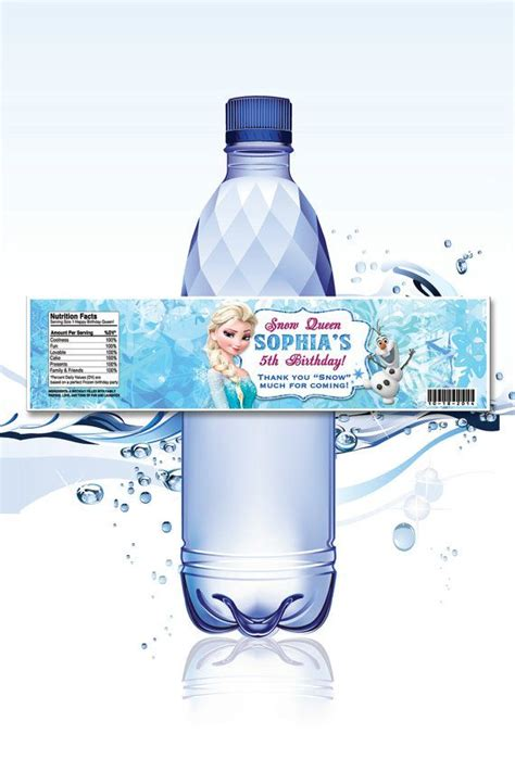 frozen water bottle wrapper olaf birthday water bottle printed personalized disney frozen water bottle wrappers