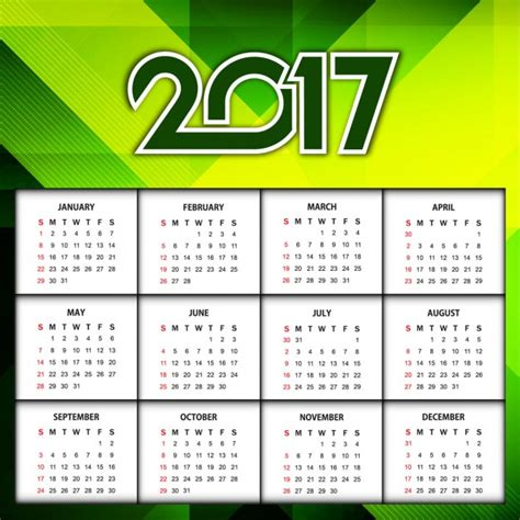 new year color green new year 2017 calendar in green color vector