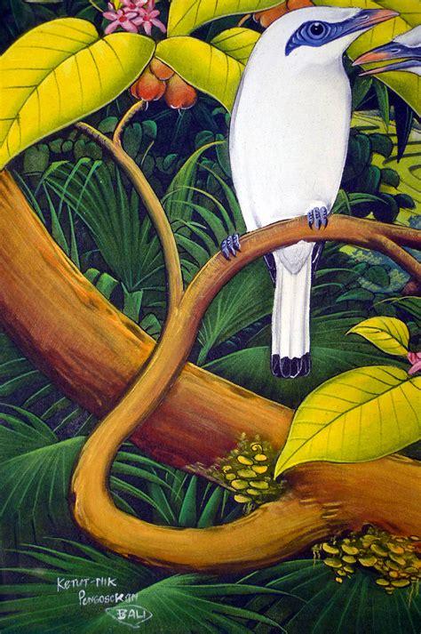 Lukisan Burung Custom painting balinese bali starling jalak paddy field