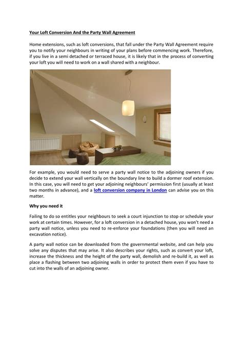 loft conversion wall agreement template your loft conversion and the wall agreement by sky