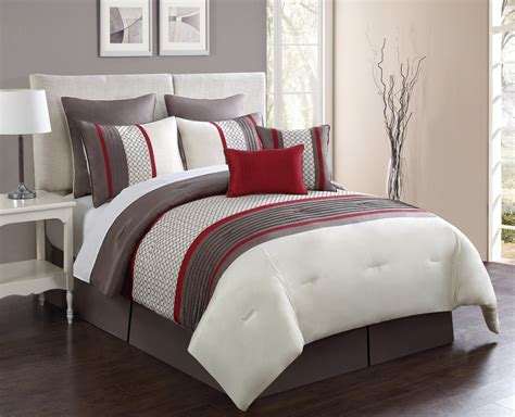 red queen size comforter 8 piece aruba red taupe comforter set