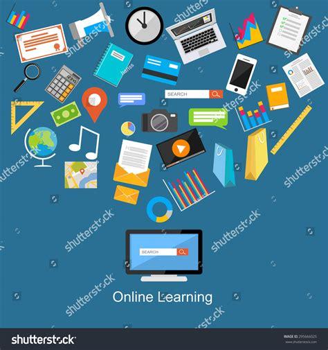 Online Education Illustration Flat Design Illustration | online learning flat design illustration stock vector