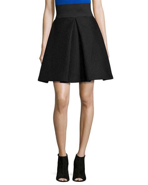 milly high waisted pleated a line skirt in black lyst