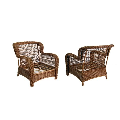Allen And Roth Patio Chairs Shop Allen Roth Set Of 2 Belanore Textured Coffee Steel Patio Chairs At Lowes