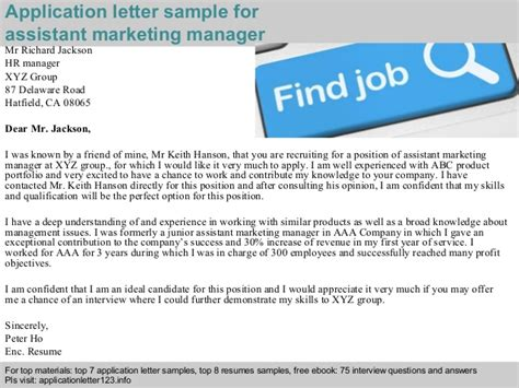 application letter marketing manager assistant marketing manager application letter