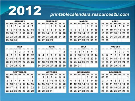 Templates Free 2012 by 2012 Printable Calendar One Page Homedesignpictures