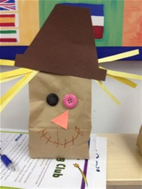 Scarecrow Paper Bag Craft - fall craft ideas for candle in the