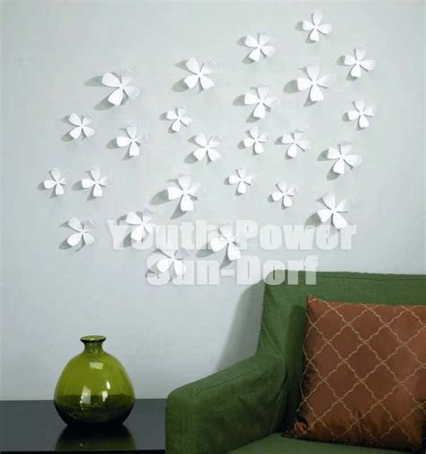 white flower wall stickers 10pcs 3d wall sticker flower home decor decoration stickers m 8x8cm white pink green