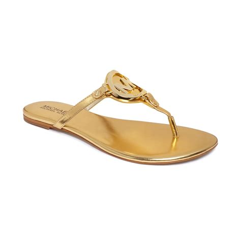 michael kors gold flat shoes lyst michael kors melodie flat sandals in metallic