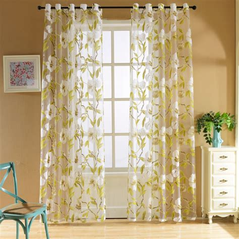 Curtains For Big Kitchen Windows Yellow Big Floral Tulle Curtains For Living Room Translucent Bedroom Kitchen Curtains Tulle