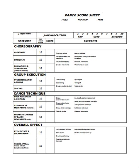 score business templates sle score sheet 8 exles format
