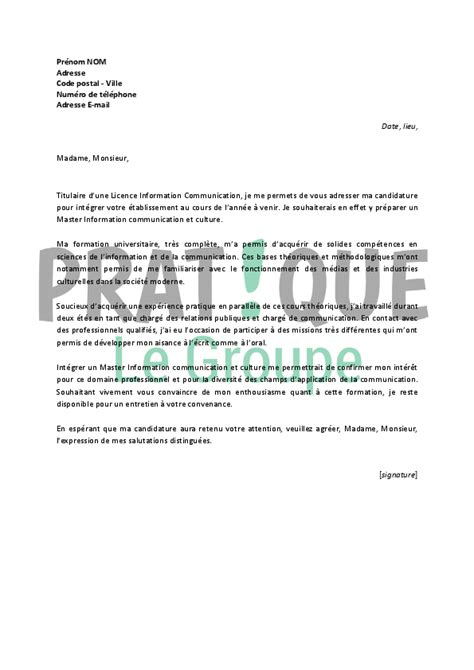 Lettre De Motivation Anglais Master Lettre De Motivation Pour Un Master Information Communication Et Culture Pratique Fr