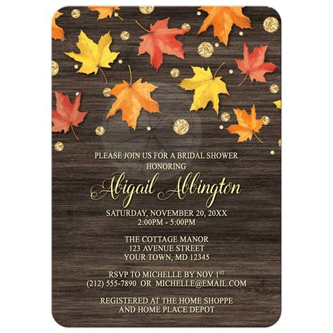 thanksgiving mail for wedding invitation bridal shower invitations falling leaves with gold autumn