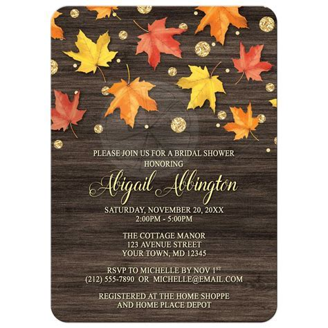 Bridal Shower Invitations   Falling Leaves with Gold Autumn