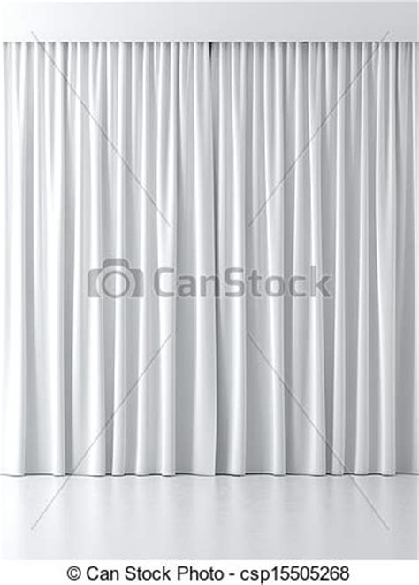 stock illustration of white curtains isolated on a white