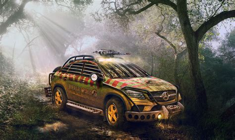 jurassic world vehicles 2015 mercedes gle reimagined and modified for jurassic