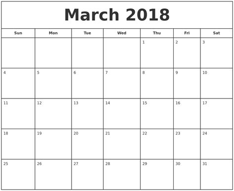 printable march weekly calendar march 2018 print free calendar