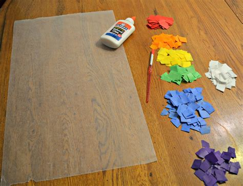 Craft Wax Paper - rainbow stained glass craft for preschoolers building
