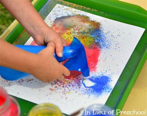 spray paint for preschoolers spray paint with powder paint and water children can