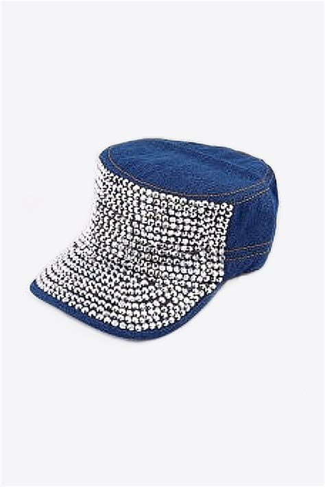Studded Baseball Cap blue denim studded baseball cap skystruk fashion boutique