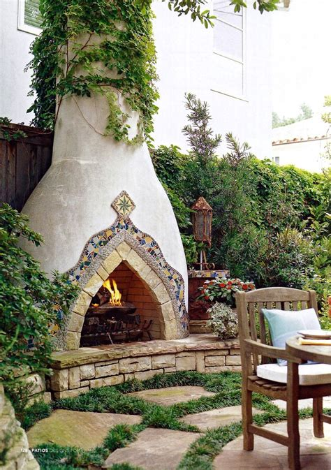 spanish style stucco fireplace outdoor fireplaces
