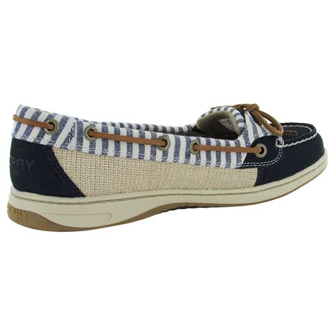 sperry womens angelfish stripe moc slip on lace up boat