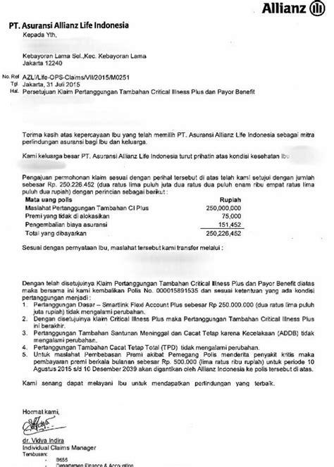 contoh surat persetujuan pembayaran klaim dari allianz asuransi jiwa