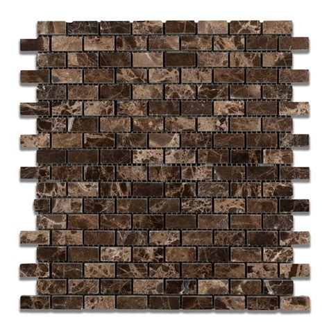 emperador dark marble baby brick mosaic tile polished
