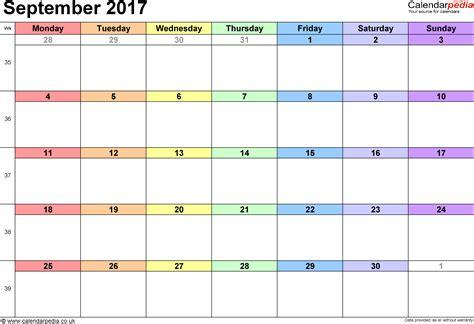 Calendar Template For September 2017