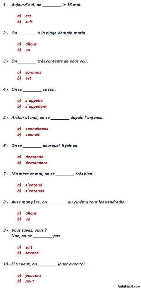 ejercicios de francs para curso gratis de franc 233 s elemental ejercicios le pronom sujet quot on quot aulafacil com los
