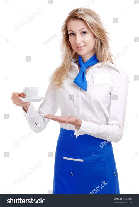 blue waitress waitress in white and blue uniform serving stock