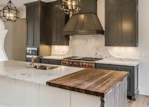 Chop Block Countertops by Mediterranean Kitchen Features Gray Shaker Cabinets