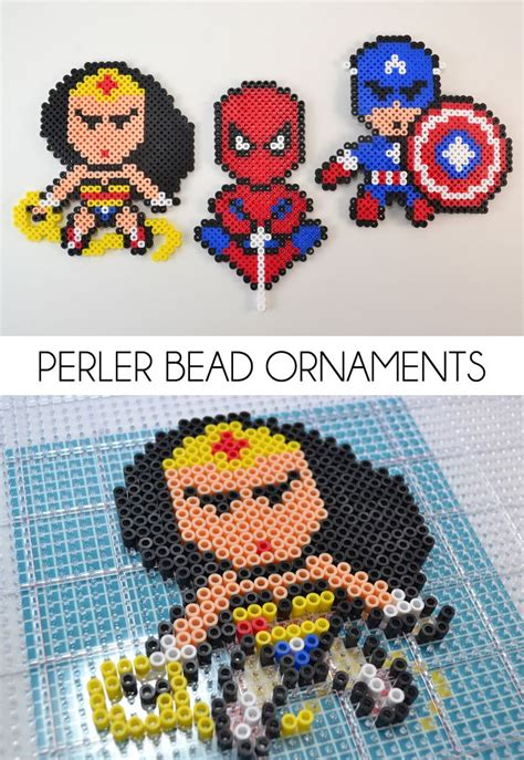 perler bead ornaments perler bead ornaments perler superheroes and