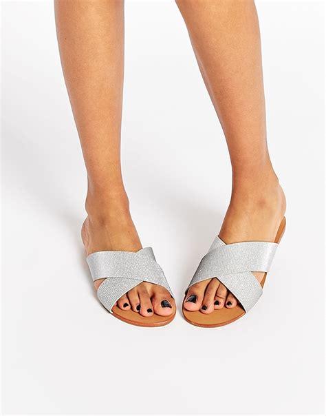 Cross Flats rebel cross slide flat sandals in metallic lyst