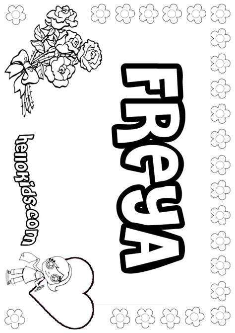 coloring pages with child s name freya coloring pages hellokids