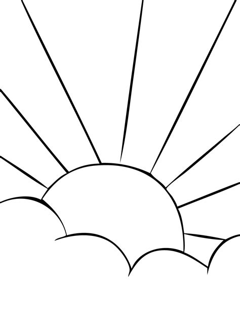 half sun coloring page sun coloring for kids printable coloring pages clipart