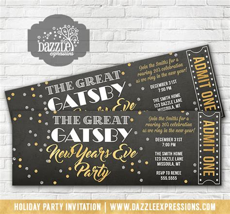Printable Great Gatsby Inspired New Years Eve Party Ticket Invitation Roaring 20 S Nye Holiday New Years Ticket Template