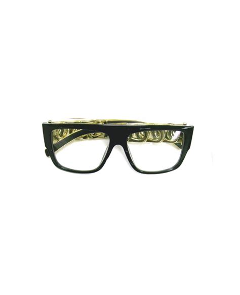 chunky black and gold hip hop glasses