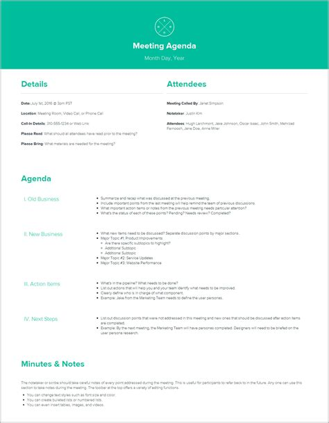 meeting itinerary template meeting agenda template by xtensio it s free