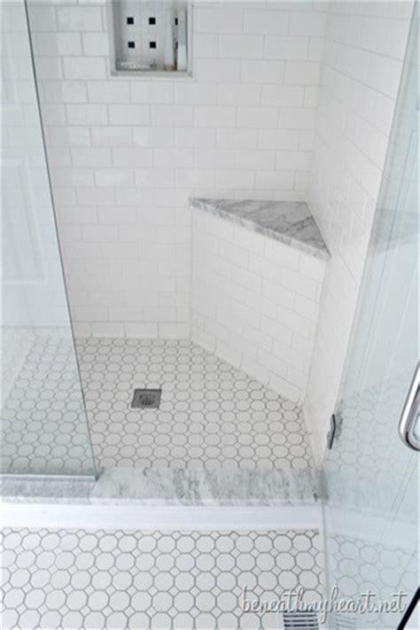 corner shower seat marble bathroom makeover reveal color tile marbles and corner