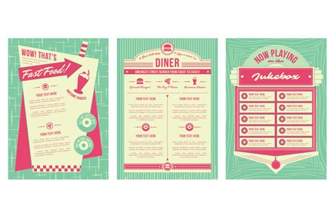 50s diner menu template 1950s backgrounds and frames for photoshop and illustrator