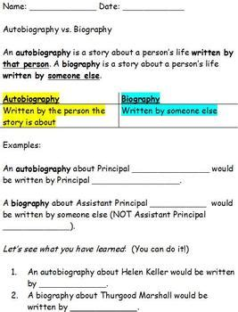 teaching difference between biography and autobiography this worksheet introduces the difference between