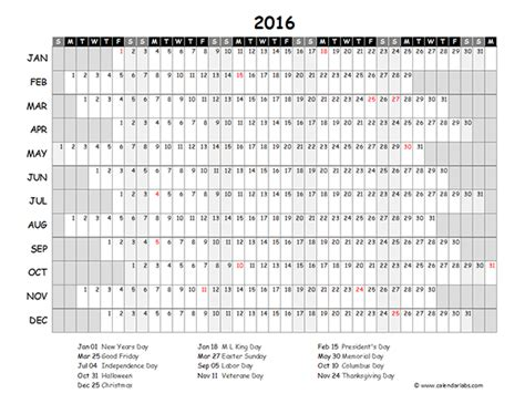 Calendario Excel 2016 2016 Excel Yearly Calendar 03 Free Printable Templates