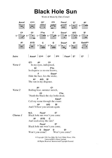 black hole sun chords black hole sun by soundgarden guitar chords lyrics