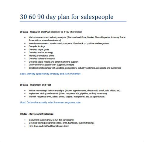 30 60 90 day management plan template 30 60 90 day sales management plan template manager