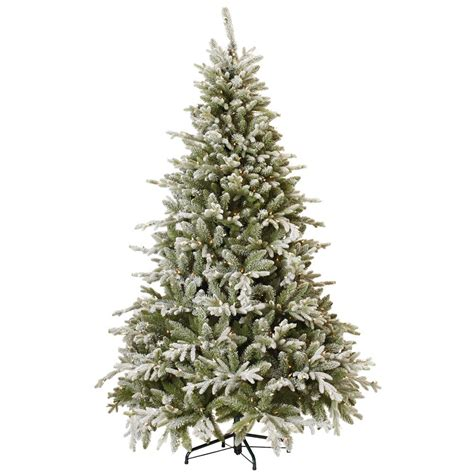 7 fr martha stewart slim christmas tree martha stewart living 7 5 ft indoor pre lit snowy cambridge fir artificial tree with