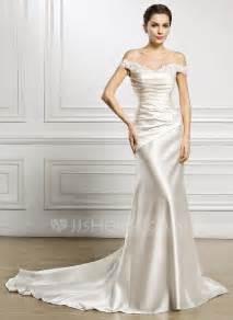 satin trumpet wedding dresses trumpet mermaid the shoulder court satin wedding